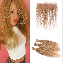 Kinky Curly Lace Frontal con Bundles # 27 Honey Blonde Deep Curly Cabello Virgen Humano con Frontal Blonde Ear To Ear Lace Frontal desde fabricantes