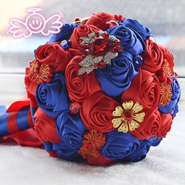 Wholesale China School Year - Wedding decoration RED AND BOUE Classics china style Luxury rose Pearls and lane decorative wedding flowers bride bouquet