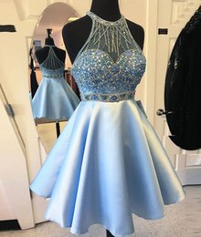 Wholesale Halter Top Dresses Plus Size - 2017 Top Selling Two Pieces Short Homecoming Dresses Sexy A Line Halter Beaded Crystal Pleats Short Sky Blue Skirt Mini Short Prom Dresses