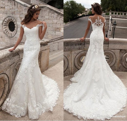 Wholesale Dropped Wedding Dresses - Milla Nova 2017 New Arrival Mermaid Wedding Dresses Vintage Scoop Neck Appliques Short Sleeve Lace Vestido De Noiva Bridal Dresses