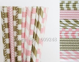 Wholesale Chevron Baby Shower - Wholesale-150pcs Paper Straws Mix,Red Checkered,Light Pink,Metallic Gold Sailor Striped and Zig Zag Chevron,Vintage Wedding Baby Shower