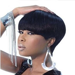 Wholesale Hair Wig Bangs - hot short cut wig simulation human hair short cut silky straight wigs with bangs in stock