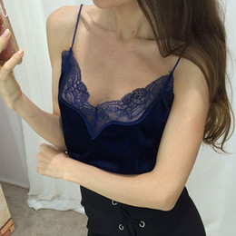 Wholesale Wholesale Womens Lace Camisoles - Wholesale- Womens Velvet Tank Top 2016 Summer Spaghetti Strap Party Top Lace Camisole Ladies Sexy Deep V Neck Halter Tops