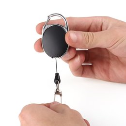 Wholesale Pull Keychain - 60cm Telescopic Pull Metal Keychain Keyring Anti-theft Buckle Key Chain Ring Outdoor Motorcycle Auto Zinc Alloy And ABS A468