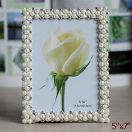 Wholesale Frames 5x7 - Wedding Accents Rectangle Silver White Pearls and Clear Rhinestones Jeweled 5x7 inch Zinc Alloy Picture Frame