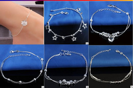 Wholesale Unique Insects - 925 Sterling Silver Anklets For Women Ladies Girls Unique Nice Sexy Simple Beads Silver Chain Anklet Ankle Foot Jewelry Gift