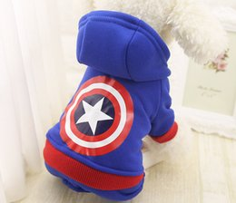 Wholesale female dog supplies - Autumn Winter Captain America Pet Clothes Product Supply Coat for Small Dogs Tidy Superhero Costume Fleece Puppy Suit Pet Supplies XS-XXL