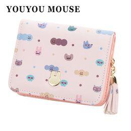Wholesale Small Mice - YOUYOU MOUSE Cute Rabbit Pattern Ladies Wallet Fashion Tassel Zip Women's Purse Short 2 Fold Multi-Functional Small Wallet