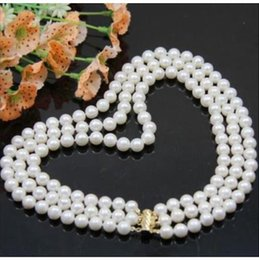 Wholesale Triple Strand Pearl Necklace 19 - triple strand 9-10 mm natural south sea white pearl necklace 17-19 inch