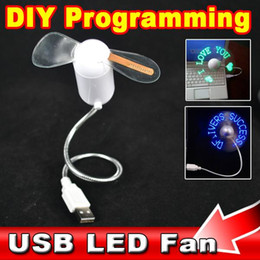 Wholesale Usb Mini Led Message Fan - Wholesale- DIY Gadget Flexible Mini USB LED Light Fan Programmable LED Cooler Cooling Fan Programming Any Characters Words Messages Text