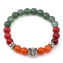 Wholesale Mixed Color Stone Beads - Mix Color Natural Stone Jade Bracelets For Women Tibetan Silver Owl Bracelets & Bangles Vintgae India Natural Stone Bead Jewelry 6