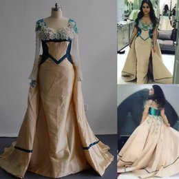 Wholesale Taffeta Plus Size Prom Dresses - 2017 Champagne Prom Dresses Mixtured with Green Tone Mermaid Sheer Bateau Neckline Long Sleeved Evening Gowns with Detachable Puffy Train
