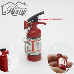 Wholesale Extinguisher Butane - 1pc Mini Extinguisher-Type Fire Refillable Cigarette Lighter Butane Gas Lighter With Key Chains Good For Gift Collection New