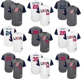 Wholesale Green 12 - 2017 USA Baseball Jerseys 27 Giancarlo Stanton 10 Adam Jones 12 Nolan Arenado 28 Buster Posey 35 Eric Hosmer World Baseball Classic Jersey