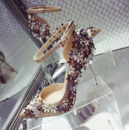 Wholesale Cheap Bling High Heels - Bling Buckle Strap Pointed Toe Wedding Shoes With Appliques Rivets Glitter 2017 Silver Gold 8CM 10CM High Heels Pumps Cheap Fast Shipping