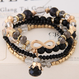 Wholesale Christmas Directions - Bracelets For Women Bijoux Glasses Stone Beads Bracelets & Bangles Gold One Direction Multilayer Elastic Charm Pulsera