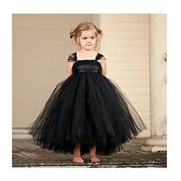 Wholesale Girls Cloth Tutu - 2017 New tutu black baby bridesmaid flower girl wedding dress tulle fluffy ball gown USA birthday evening prom cloth party dress