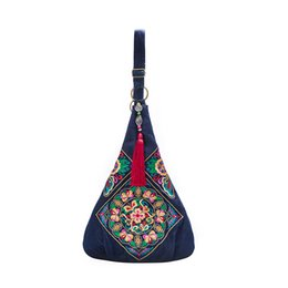 Wholesale Chinese Denim Brands - Wholesale- Chinese Style Brand Ethnic Women Handbags Large Flower Embroidery Bags Ladies Big Crossbody Bags for Women Blue Denim Bags
