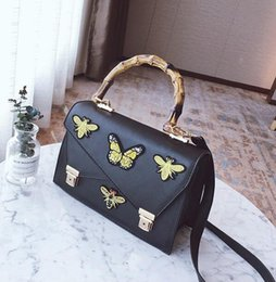 Wholesale Embroidery Bamboo - wholesale brand handbags and fashion elegant embroidery butterfly bamboo bag all-match double lock handbag fashion leather embroidery bag