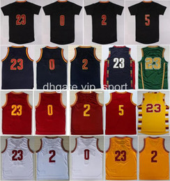 Wholesale Cheap Men S Gold - Cheap 2 Kyrie Irving Jersey Men Throwback 23 LeBron James 0 Kevin Love Basketball Jerseys Sale Red White Yellow Navy Blue With Player Name