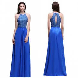 Wholesale Halter Top Chiffon Evening Gown - Cheap Royal Blue Chiffon Long Bridesmaid Dresses A Line Keyhole Beaded Appliqued Top Formal Vestidos de fiesta Prom Evening Gowns CPS538