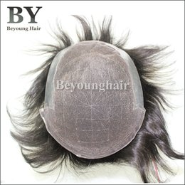 Wholesale Human Hair Toupee For Men - Beyounghair 100% Human Hair French Lace With PU Back Sides Hair Replacement System Natural Color Men's Hair Pieces Toupee For Men