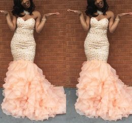 Wholesale Girls Sweetheart Dressed - Blush Pink Mermaid Prom Dresses Sweetheart Sequins Crystal Tiered Organza Plus Size Evening Dresses African Black Girls 2K17 Party Dresses