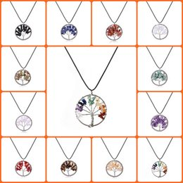 Wholesale Gemstone Charms Pendants For Necklace - Natural Crystal Quartz Gemstone Chakra Living Tree of Life Charms Handmade Natural Gemstone Chips Wire Wrap Stone Bead Pendant for Necklace