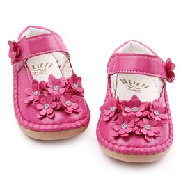 Wholesale Wholesale Crystal Baby Shoes - Wholesale- High Quality Beautiful Crystal Flower PU Leather Rubebr sole Baby moccasins Shallow Baby Girl Princess Shoes 1-3 Years