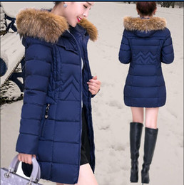 Wholesale Womens Fur Winter Hats - Hot! Winter Womens Down Coat Thick Warm Women Jacket Hooded Raccoon fur collar Female Parkas Jackets Fashion Slim Coats