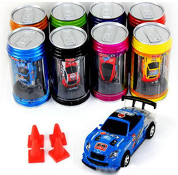Wholesale Rc Cars Free Dhl - RC Car 8 color Mini-Racer Remote Control Car Coke Can Mini RC Radio Remote Control Micro Racing 1:63 Car DHL Free
