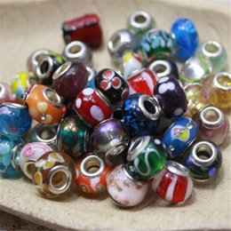 Wholesale Loose Glass Beads Free Shipping - Silver Loose Bead Jewelry DHL Multicolor Murano Glass Sterling Charm Bead for European Flowers Big Hole Necklaces Bracelets Free Shipping