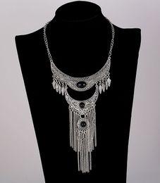 Wholesale Long Flower Crystal Pendant Necklace - 2017 Fashion Bohemian Vintage Necklace Antique Silver Turquoise Jewelry Long Tassel Necklace Statement Necklaces For Women