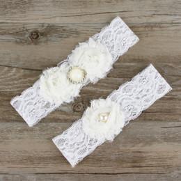 Wholesale Vintage Wedding Garter Sets - Wedding Lace Garter Set Vintage inspired Aqua With Pearl Wedding Stretch Lace Floral Garter Set With Flowers HJ096