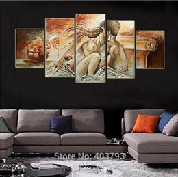 Wholesale Naked Oil Painting Women - 100% Hand-painted Bedroom Adornment Nude Body Wall Art Painting Naked Men and Women Honey Love Decorative Paintings Home Decor