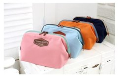 Wholesale Trunks For Women - Fashion Designer Double Zipper Cosmetic Bag For Women Makeup Organizer Ladies Travel Cosmetic Bags Cases Blue Pink Navy Orange Colors Sale