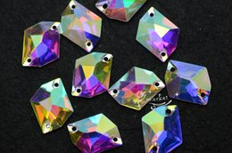 Wholesale Glass Beads Oval Shape - Acrylic beads Irregular shape AB Faceted Sew On Flat Back Jewels