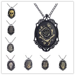 Wholesale vintage cameo necklaces - Steampunk Vintage Style Rose Cameo Pendant Necklace Black Alloy Chain Best Christmas Gift for Men Sweater Necklace