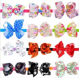 Wholesale Xmas Ribbon Wholesale - Baby Girls Headbands Bows Kids Floral Plaid Grosgrain Ribbon Headbands Girls Xmas Bowknot Hairbands Children Striped Hair Accessories KHA384