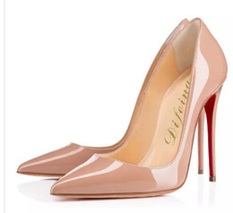 Wholesale Patent Ladies Shoes - Difeina Fashion Women Wedding Dress Shoes Super High-heel Ladies Red Bottom Pumps Nude colors Stiletto Pointed Toes Patent Leather