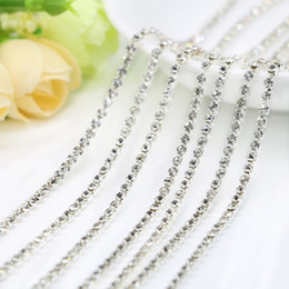 Wholesale Crafts Sew - Crystal Clear Rhinestone Plated Silver Copper Cup Chain For Jewelry Making, Sew on Dress, Diy Craft, SS6.5-SS12, 10Meters Pack