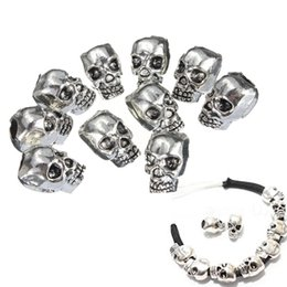 Wholesale Craft Charms Skulls - Wholesale- 10pcs lot Skull Beads Paracord Beads Metal Charms Skull For Bracelet Lanyard Necklace Pendant Key Charm DIY Craft Yoga Jewelry