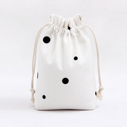 Wholesale Spotted Cotton Fabric - 22*23cm Cotton Canvas Drawstring Bags Muslim Style Simple Personality Black Spots White Cloth Sacks Wholesale Good Quality