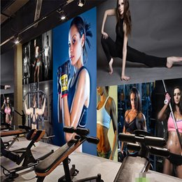 Wholesale Sexy Smoke - Wholesale-wall decor paper 3D Sexy body bodybuilding Boxing Gym room living room dining wall covering murals-3d wall paper home decor