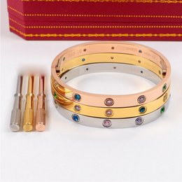 Wholesale Titanium Cuff Bracelets For Men - New stainless steel love bracelet bangles for women with ten CZ colorful diamond cuff bangle men screwdriver Bracelet for lovers Jewelry