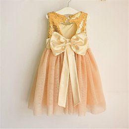 Wholesale Sequins Mesh Dress - Baby Girls Lace Sequins Dresses Kids Girls Princess Bow Dress Babies Mesh Party Dress 2017 childrens Summer clothing