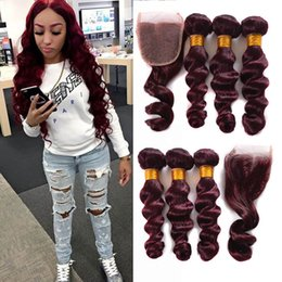 Wholesale Wine Red Color Hair - Brazilian Loose Wave Virgin Hair Burgundy 3 Bundles With Lace Closure Wine Red #99j Human Hair With Closure 4Pcs Lot Burgundy Hair