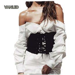 Wholesale Wide Belt Trend - Wholesale- 2017 Trend New High Fashion High Waist Tie Ladies Wide Belt Clothes Accessories