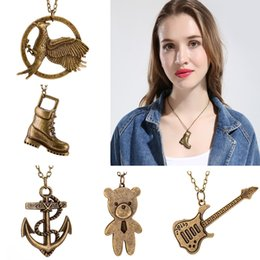 Wholesale Vintage Bird Jewelry - Women Girl Hippie Style Necklace Anchor Birds Long Boots Guitar and Cute Bear Charms Pendants Steampunk Vintage Jewelry Best Friends Gifts