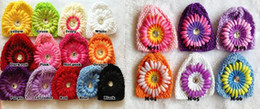 "Wholesale Hat Waffle Beanie Crochet - Colorful Baby 6"" Crochet Beanie Hats Infant Handmade Knit Waffle Big daisy hat String Wheat Caps Newborn cap"